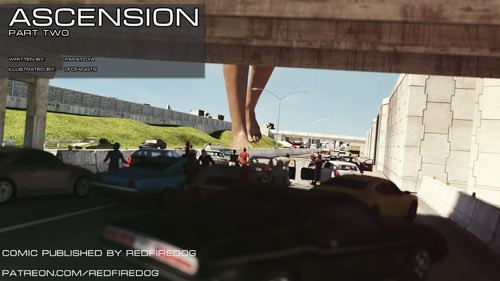 Giantess babe attacking the city in Redfiredog – Ascension 2