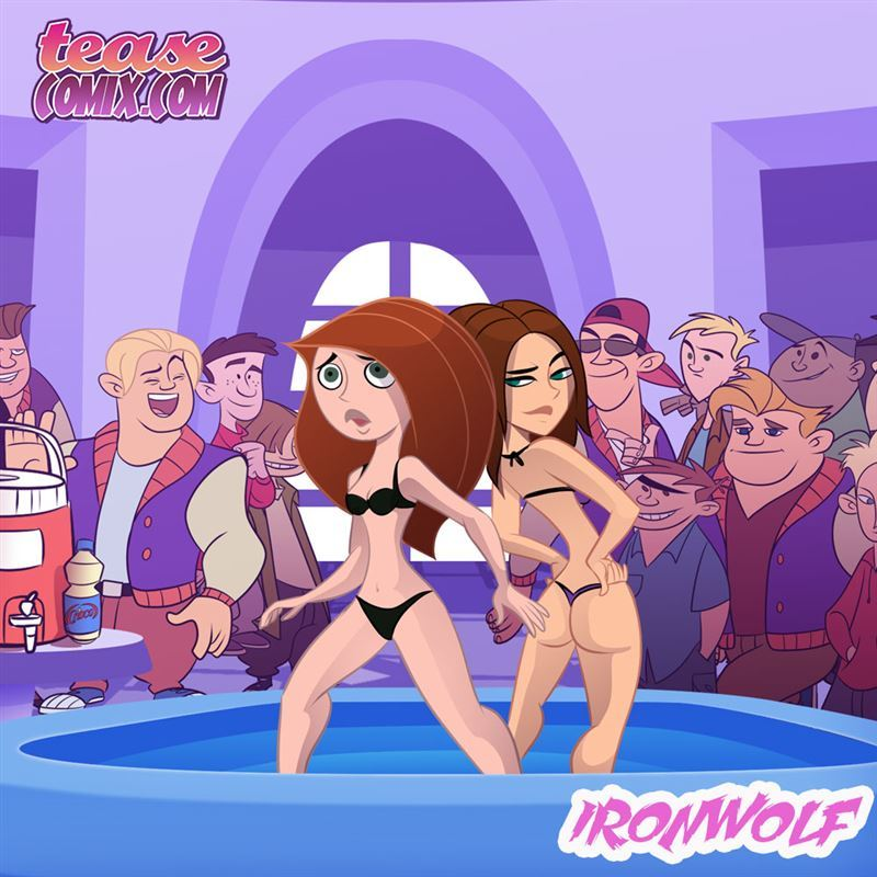 Teasecomix - Ironwolf - Cheer Fight: Kim Possible & Bonnie oil wrestling