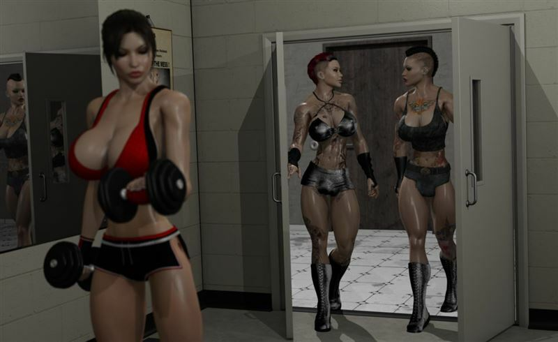 Lara Croft Workout at the Gym with Muscular Shemales from Joos3dart